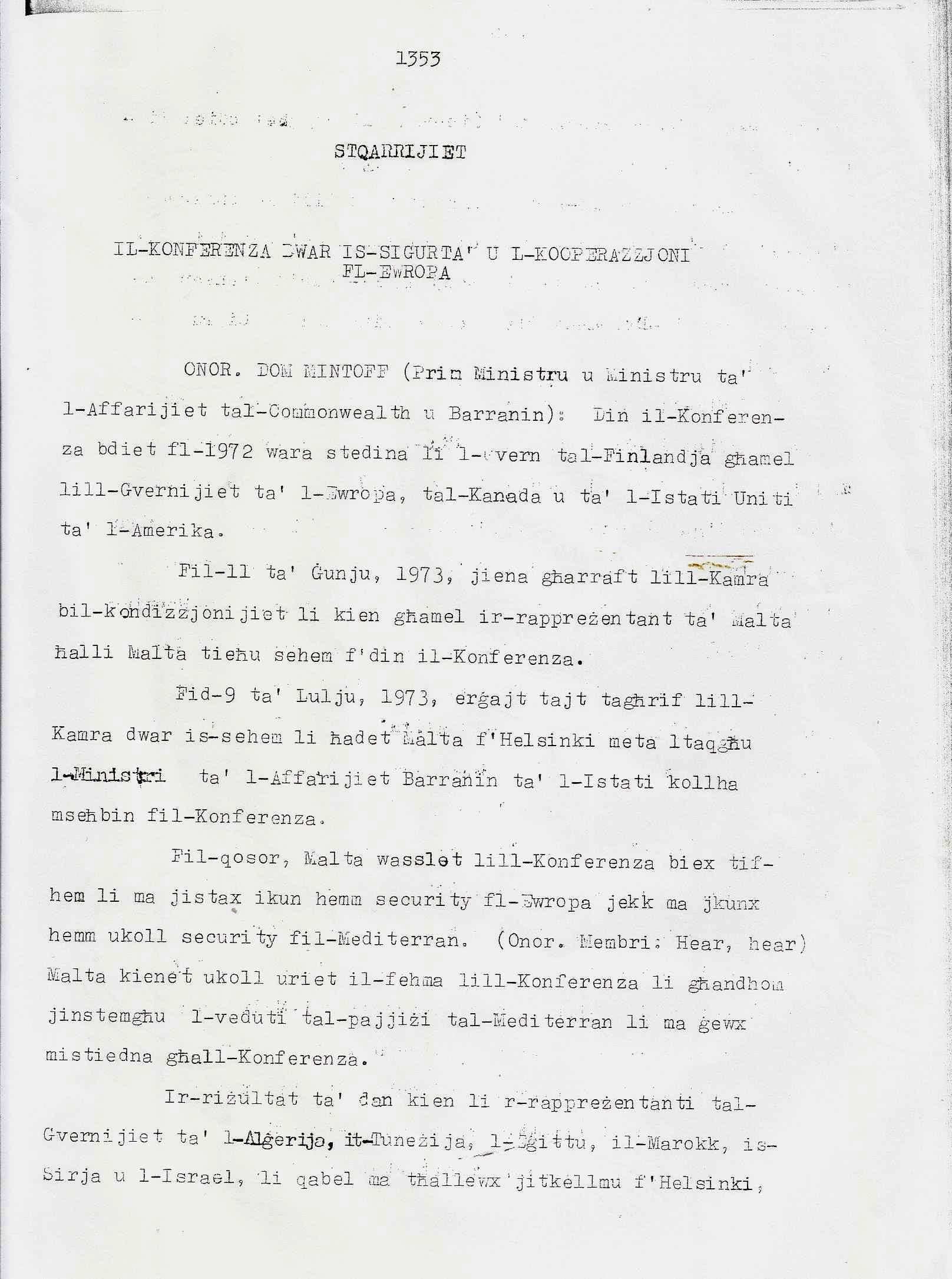 1. Dom Mintoff Parlament 15-7-1975