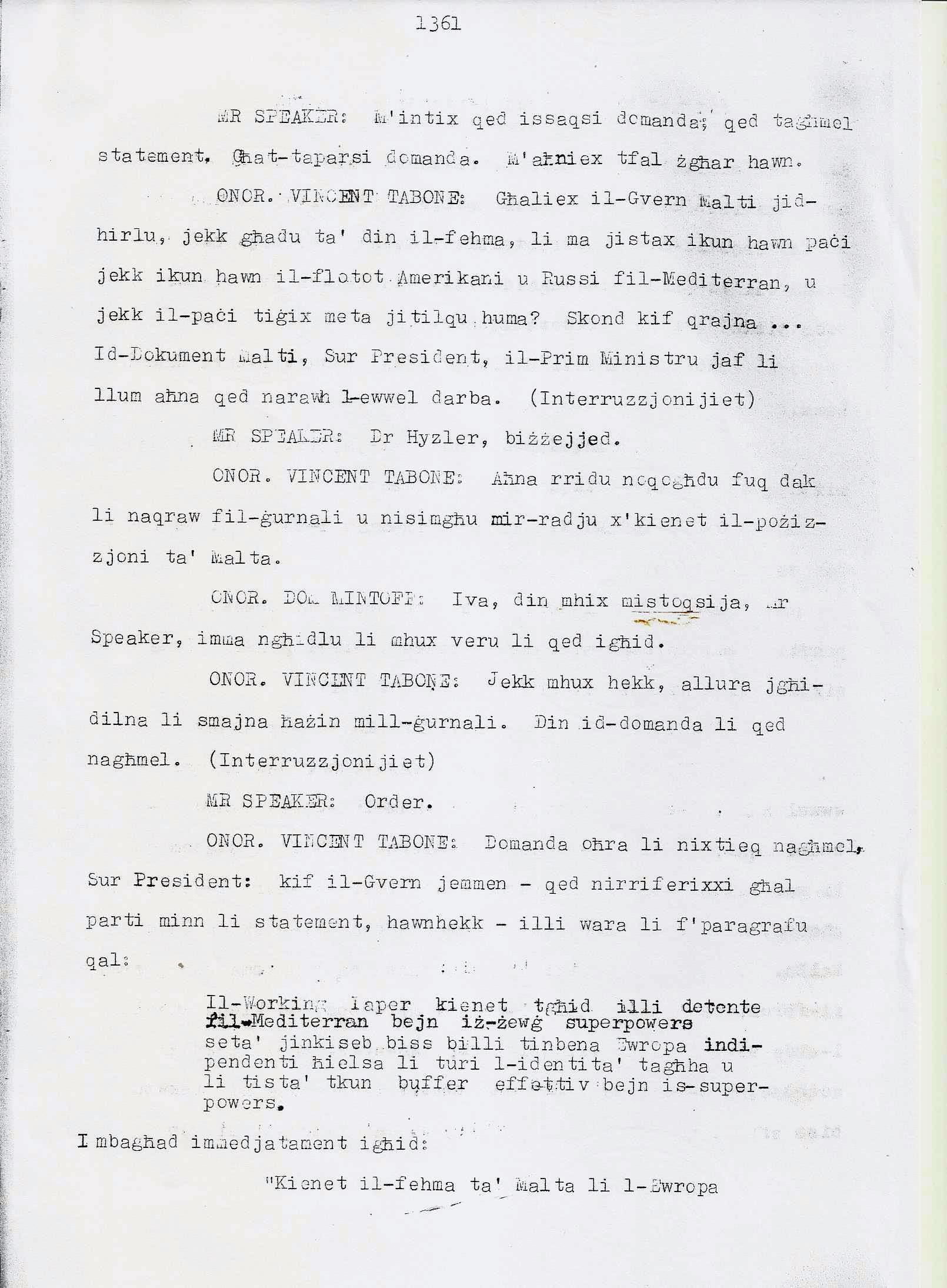 9. Dom Mintoff Parlament 15-7-1975